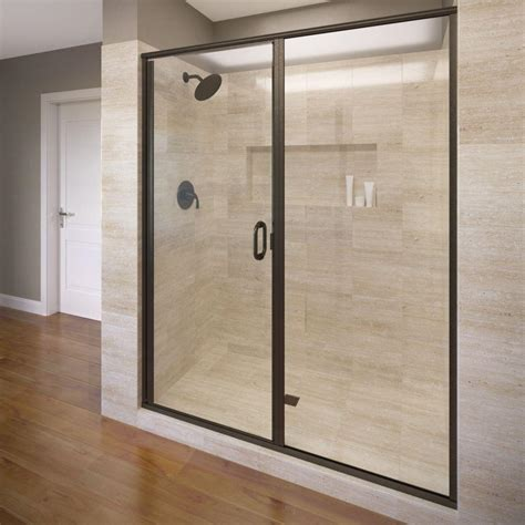 Bronze Shower Doors Basco Deluxe 47 In X 68 5 8 In Framed Pivot Shower Door In Rubbed Bronze With Clear Glass