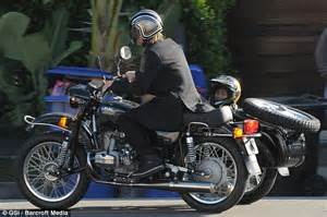 brad pitt takes son pax for a ride in his motorbike and