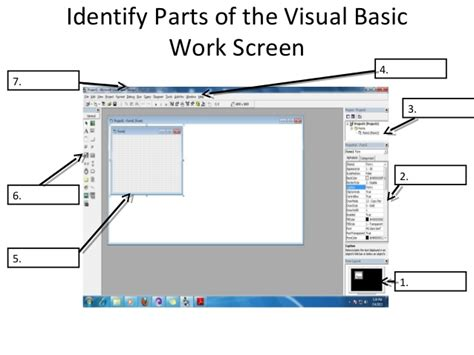 visual basic diagram lesson 3 identify parts of the visual basic work screen
