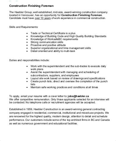 construction superintendent description resume