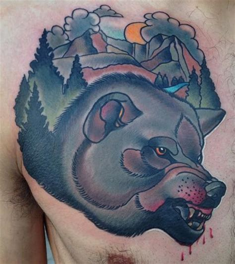 art junkies tattoo traditional color wolf gary dunn junkies