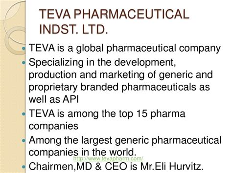 Pharmaceutical And Healthcare Mba Of The Sciences by Tiva Pharmaceutical Industries Ltd