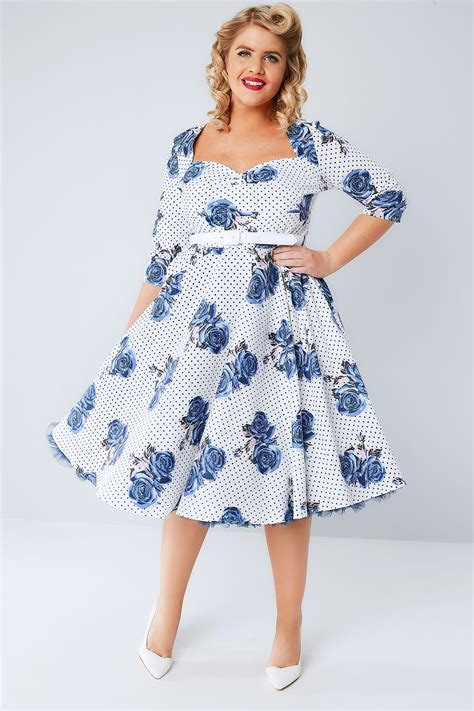 Dress Bunny hell bunny white blue dotty dress with waist belt