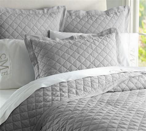 linen quilts coverlets belgian flax linen diamond quilt sham pottery barn