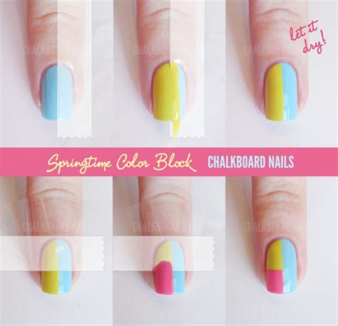 easy nail art with tape step by step easy step by step color block nail tutorials