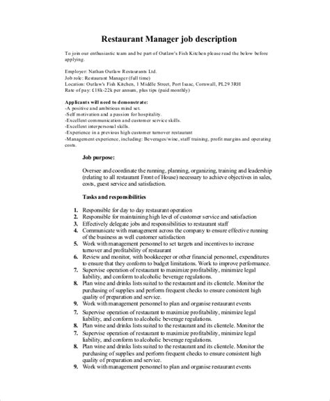 Restaurant Manager Description by 10 Sle Manager Description Templates Pdf Doc Free Premium Templates