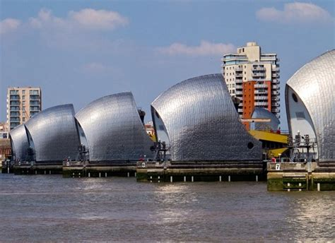 thames barrier by tube from the road and bus stop to the barrier picture of the