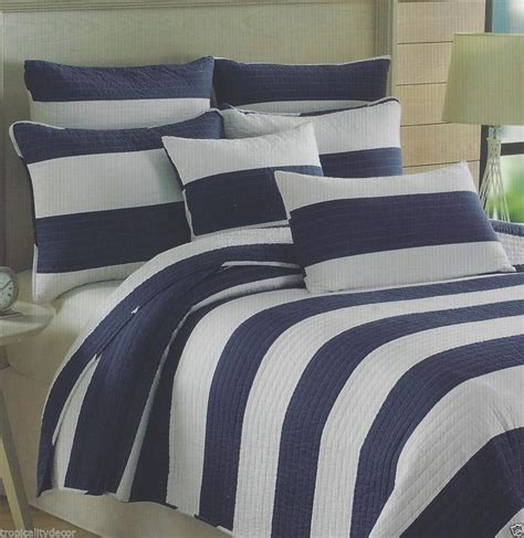 Navy Striped Quilt by Max Studio Navy Cabana Striped Quilt Set 3 Pc F Q