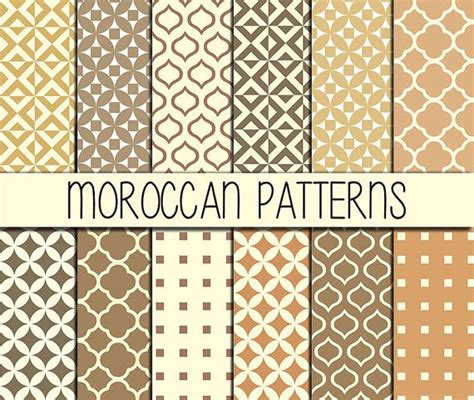 12inch Scrapbook Paper 36b moroccan tiles instant set of 12 papers 12x12 inch digital paper pack