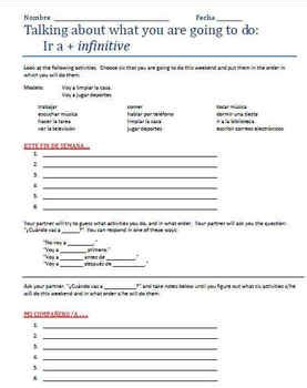 Ir A Infinitive Worksheet Answers