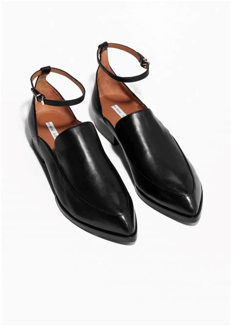 other stories ankle leather loafers pinpoint