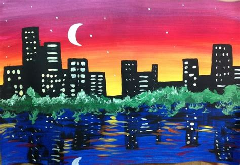 City Skyline Painting Lesson Principles Of