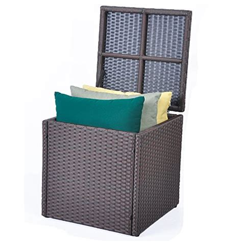 resin bench storage box outdoor patio resin wicker deck box storage container