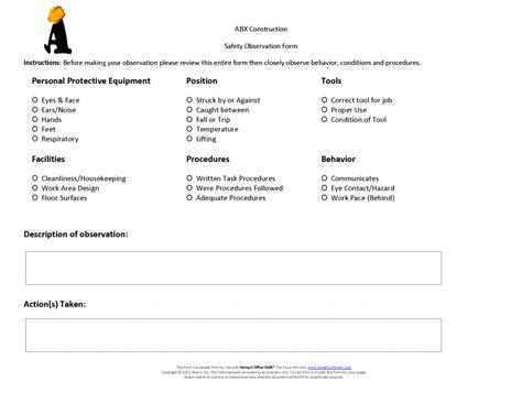 safety observation report template construction safety observation form 183 remark software