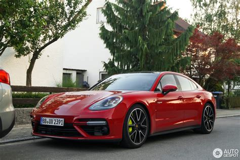 porsche panamera hybrid red 2018 porsche panamera turbo s e hybrid spotted in germany