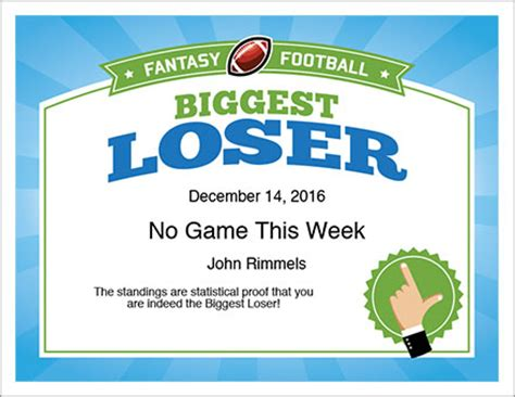 weight loss certificate template loser award certificate football