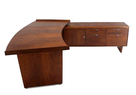 Large Executive Mid Century Modern Walnut L Shape Desk Large L Shaped Desk