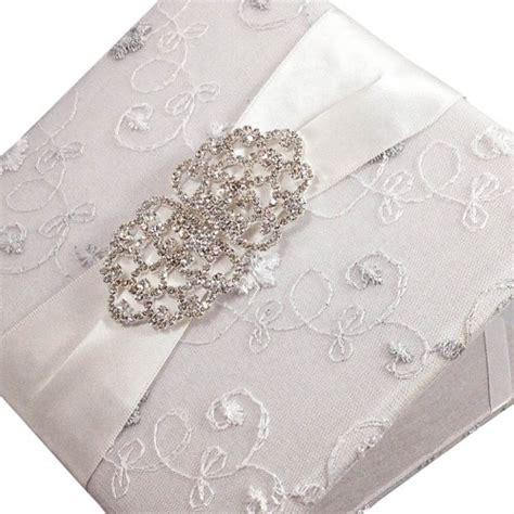 silk wedding invitations thailand white silk embroidered lace covered invitation folio embellished with rhinestone