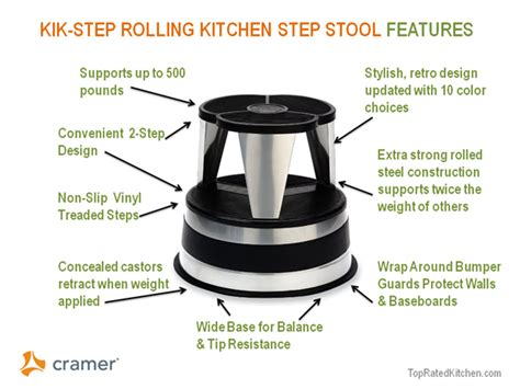 Rolling Step Stool For Kitchen by Best Stoop Free Rolling Kitchen Step Stool By Kik