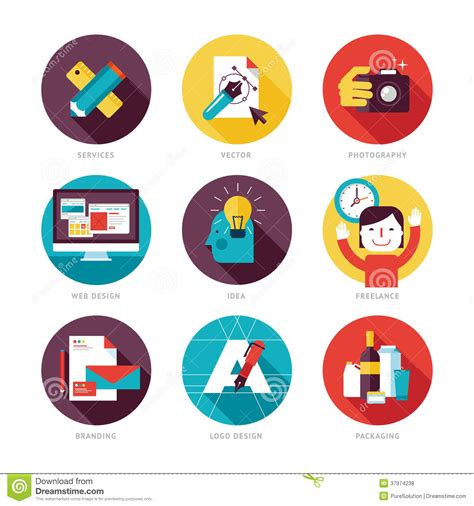 design analysis icon design services icon set set of modern flat design icons on design developm stock