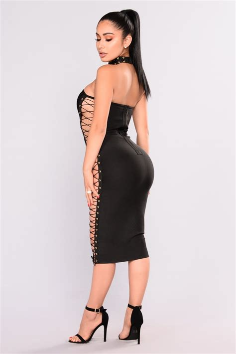 Dress Model Style Fashion Impor 23 stacey lace up dress black