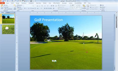 Golf Ball Animation Using Custom Path In Powerpoint 2010 Golf Course Powerpoint Templates