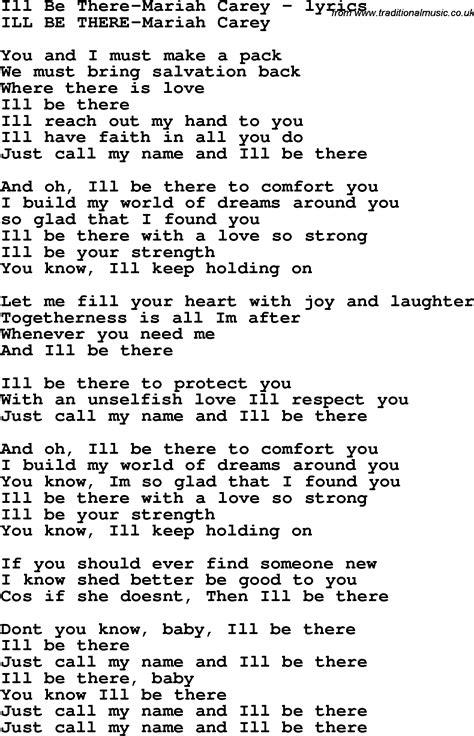 lyrics carey song lyrics for ill be there carey