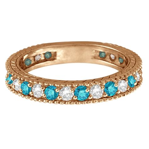 white  blue diamond ring eternity band  rose gold