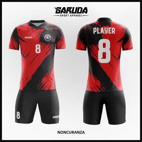 desain baju futsal warna merah desain baju futsal terbaru noncuranza merah hitam garuda