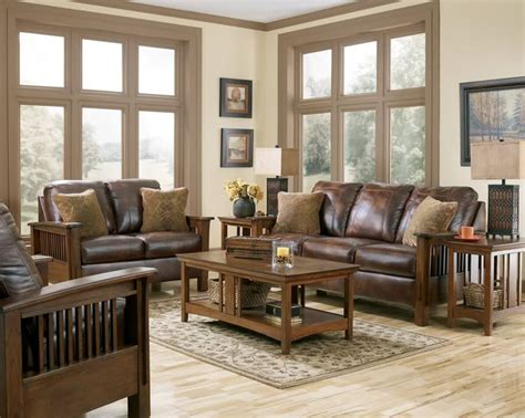 Gabriel Mission Rustic Brown Faux Leather Sofa Couch Rustic Living Room Furniture Set