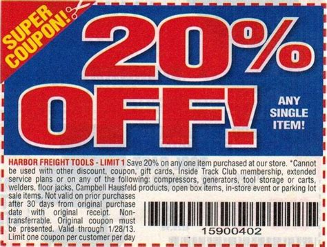 harbor freight coupons 20 off printable harbor freight free coupon printable 2018 coupon code