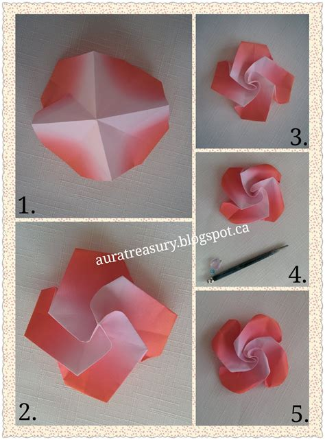Origami Roses Step By Step - aura treasury diy s origami flowers