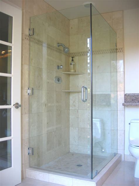 Bathroom Glass Showers Bathroom Comely White Marble Corner Shower Tile Ideas And Frameless Glass Shower Door And One