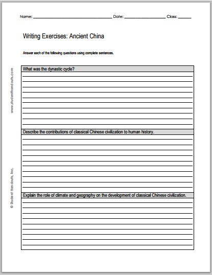 Essay On China History by Essay Questions On Ancient China Free To Print Pdf File