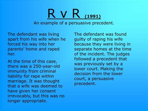 Persuasive Precedent by Ppt R V R 1991 An Exle Of A Persuasive Precedent
