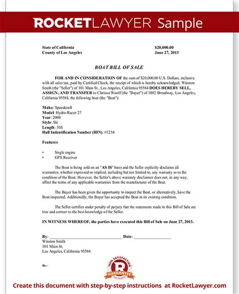 Boat Bill Of Sale Boat Purchase And Sale Agreement Rocket Lawyer Vessel Bill Of Sale Template