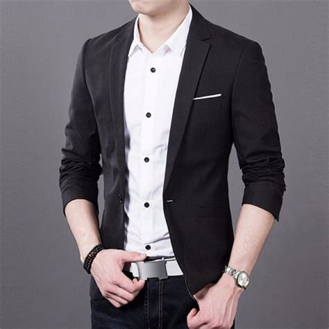 Jas Blazer Jaket Casual Style Blue fashion tops mens slim fit stylish casual one button suit