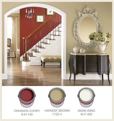 cinnamon cherry color warm traditional interior paint color palette with