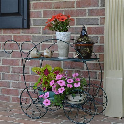 Patio Plant Stands Tiered by Cobraco Two Tiered Garden Cart Fc100 Plant