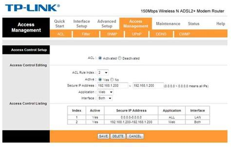 how to configure access acl on tp link adsl2