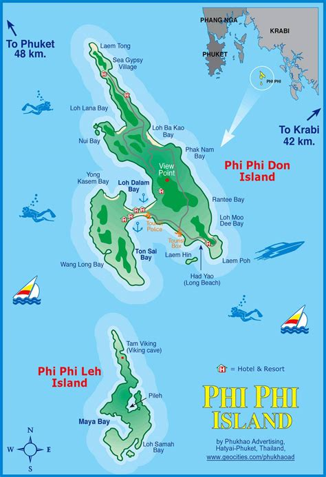 complete guide to the phi phi islands in thailand large phi phi islands maps for free download and print