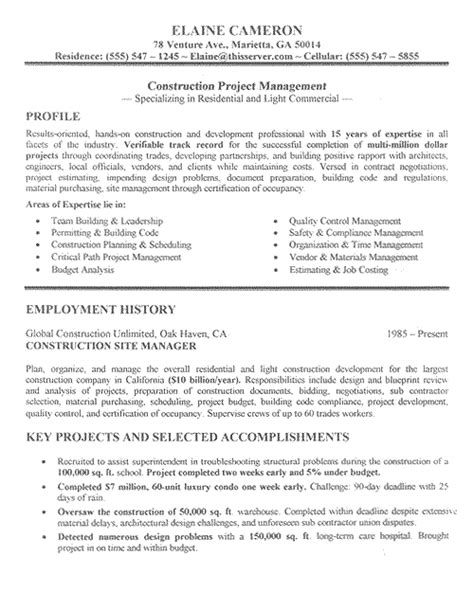 Construction Sle Resume by Construction Manager Resume Exle Sle