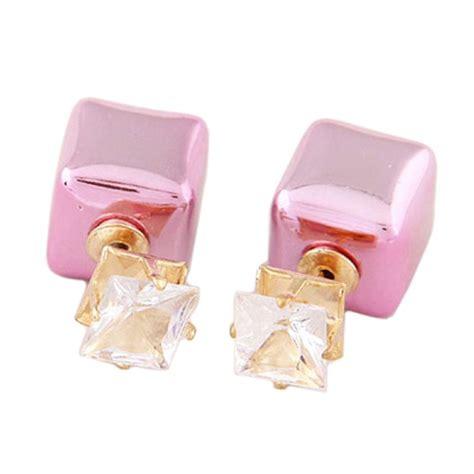Ke97726 Anting Korea Pink jual fashionista korea ke38292 square pink anting
