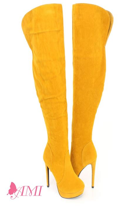 yellow thigh high platform high heel boots faux suede