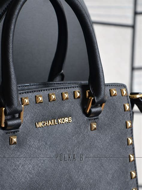 Furla In Studded Gold Authentic 100 With Receipt michael kors selma medium studded saffiano leather satchel black polka b authentic luxury