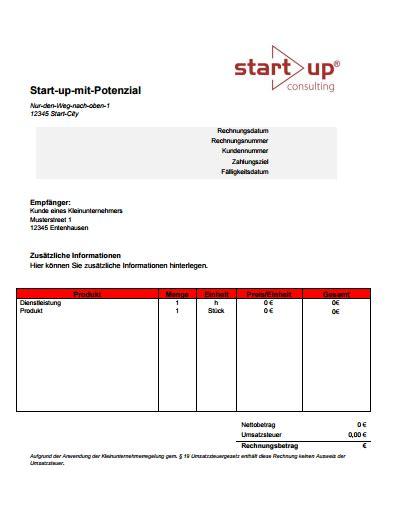 Vorlage Rechnung Beraterhonorar Kostenlose Vorlage Rechnung Kleinunternehmer Starthilfe Der Start Up Consulting
