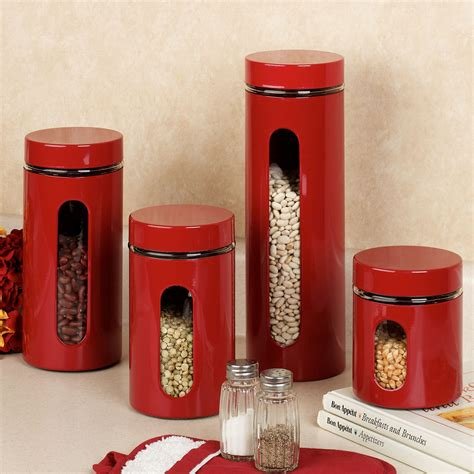 Red Kitchen Canister Set | palladian red window kitchen canister set