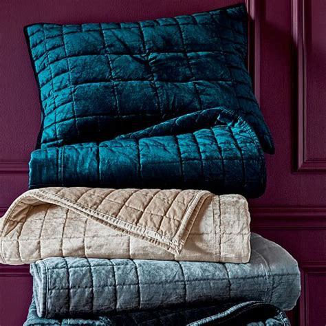 Cotton Velvet Quilt by Washed Cotton Luster Velvet Quilt Shams Platinum