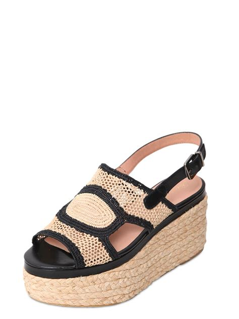 raffia sandals robert clergerie 60mm woven raffia leather sandals in