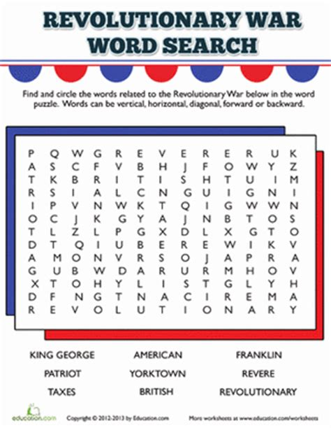 printable word search civil war revolutionary war word search worksheet education com